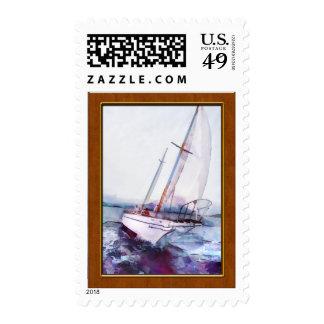 Acuarela y tinta simples del velero que se inclina sellos