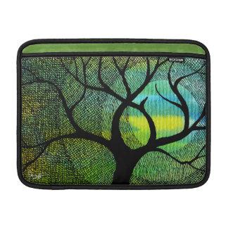 Acuarelas azules y amarillas del árbol y de la lun fundas para macbook air