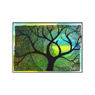Acuarelas azules y amarillas del árbol y de la lun impresión en tela