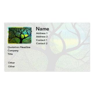 Acuarelas azules y amarillas del árbol y de la lun tarjetas de visita