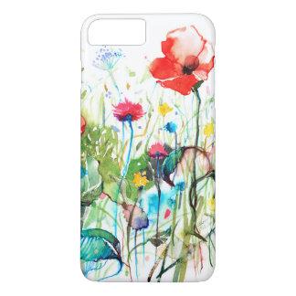 Acuarelas coloridas las flores rojas de la amapola funda iPhone 7 plus
