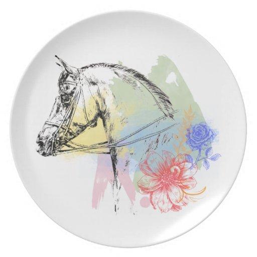 Acuarelas de la cabeza de caballo plato de cena