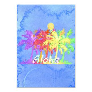 """Acuarelas de la palmera de la hawaiana de Hawaiin Invitación 3.5"""" X 5"""""""