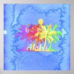 Acuarelas de la palmera de la hawaiana de Hawaiin Póster