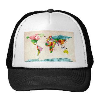 Acuarelas del mapa del mundo gorros bordados