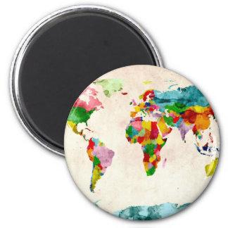 Acuarelas del mapa del mundo imán de frigorífico