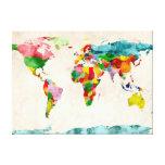 Acuarelas del mapa del mundo lona estirada galerías