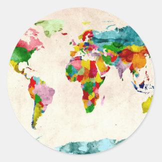 Acuarelas del mapa del mundo pegatina redonda
