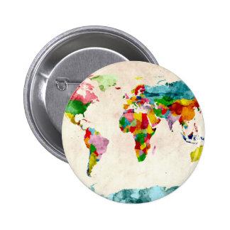 Acuarelas del mapa del mundo pin redondo de 2 pulgadas