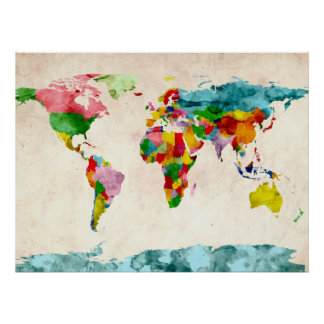 Acuarelas del mapa del mundo póster