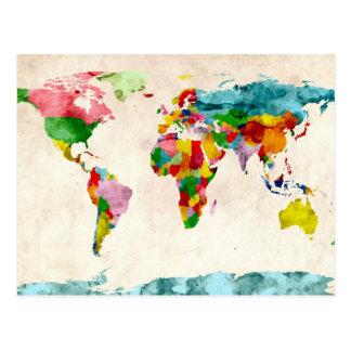 Acuarelas del mapa del mundo tarjeta postal
