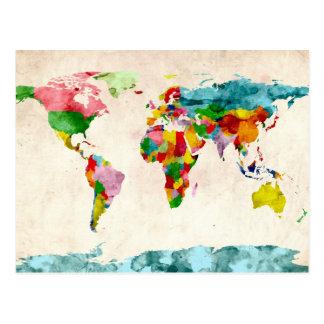 Acuarelas del mapa del mundo tarjetas postales