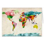 Acuarelas del mapa del mundo tarjetón