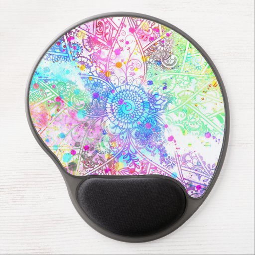 Acuarelas dibujadas mano linda del diseño de la alfombrillas de raton con gel