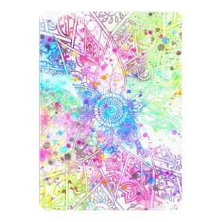 Acuarelas dibujadas mano linda del diseño de la invitación 12,7 x 17,8 cm