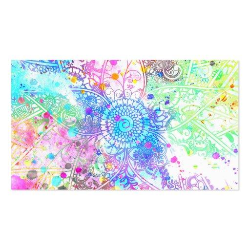 Acuarelas dibujadas mano linda del diseño de la tarjeta de negocio