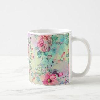 Acuarelas florales de la pintura de los rosas taza clásica