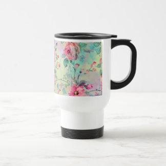 Acuarelas florales de la pintura de los rosas taza térmica