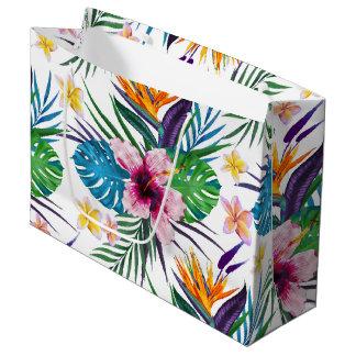 Acuarelas florales tropicales hermosas de la bolsa de regalo grande