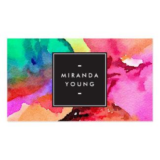 Acuarelas multicoloras abstractas frescas modernas tarjetas de visita