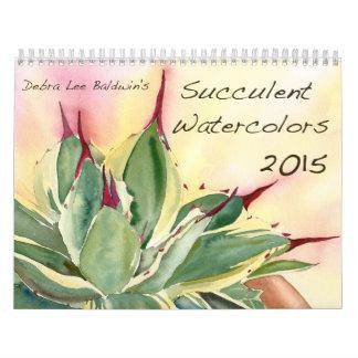 Acuarelas suculentas 2015 de Debra Lee Baldwin Calendario De Pared