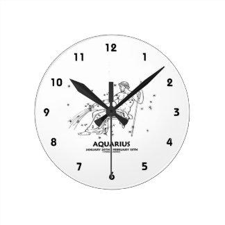 Acuario (20 de enero - 18 de febrero) reloj redondo mediano