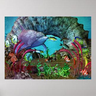 Acuario 3D del descubrimiento 2 del delfín Posters