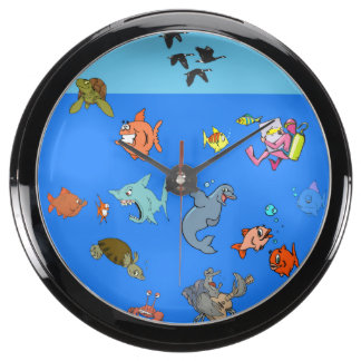 Acuario 6 (pescados del dibujo animado) reloj aqua clock