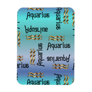 Acuario azul, muestra del zodiaco iman rectangular