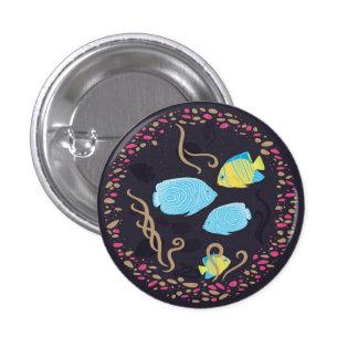 Acuario - botón del círculo de los pescados pin redondo de 1 pulgada