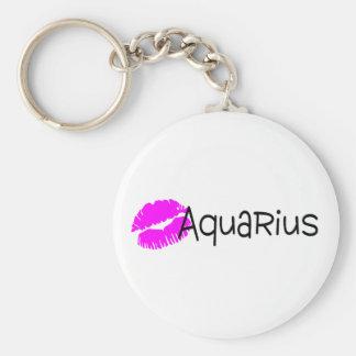Acuario con beso rosado llavero personalizado