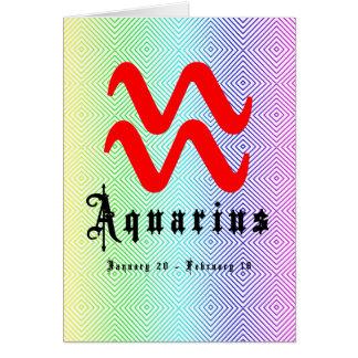 Acuario, el 20 de enero - 18 de febrero tarjeta de felicitación