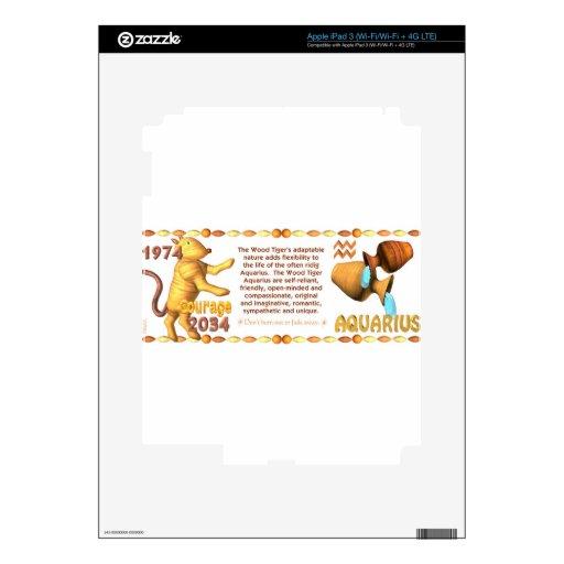 Acuario llevado zodiaco 1974 de WoodTiger de Valxa iPad 3 Pegatinas Skins