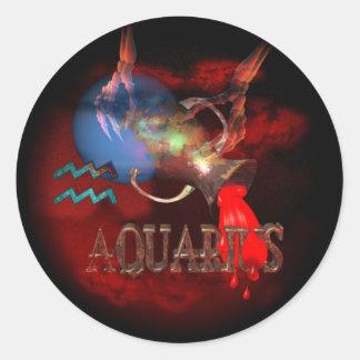 Acuario llevado zodiaco espeluznante de Valxart Etiqueta Redonda