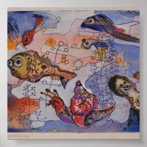 Acuario Margret Hofheinz-Döring Aquarell 1960 Poster