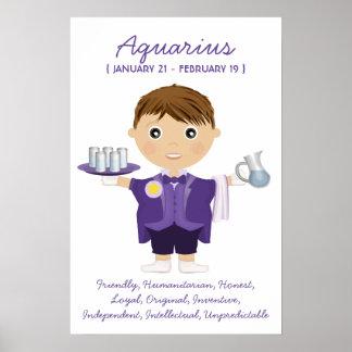 Acuario - poster del horóscopo del muchacho