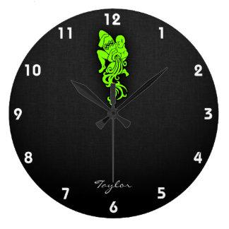 Acuario verde chartreuse, de neón reloj redondo grande