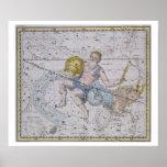 """Acuario y Capricornio, """"de un atlas celestial"""", Póster"""
