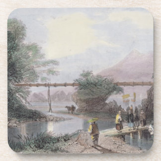 Acueducto de bambú en Hong Kong, grabado por el an Posavasos De Bebidas
