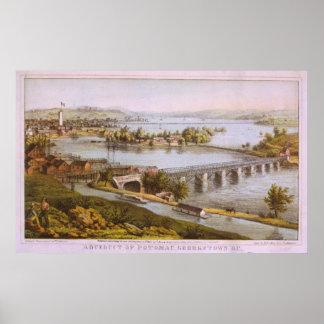 Acueducto del vintage del mapa de Georgetown Póster