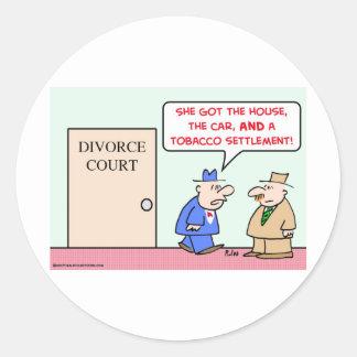 acuerdo del tabaco del divorcio etiquetas redondas