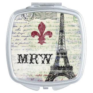 Acuerdo francés del vintage de la torre Eiffel Espejos De Maquillaje