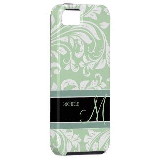Acuñe el damasco floral verde y blanco del helado iPhone 5 cárcasas