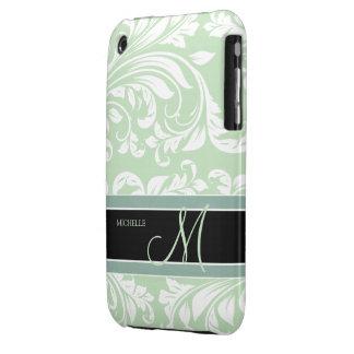 Acuñe el damasco floral verde y blanco del helado iPhone 3 cárcasas