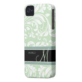 Acuñe el damasco floral verde y blanco del helado iPhone 4 Case-Mate cárcasa