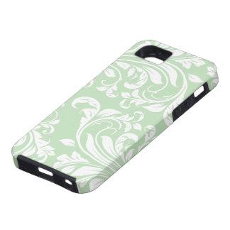 Acuñe el damasco floral verde y blanco del helado iPhone 5 carcasas
