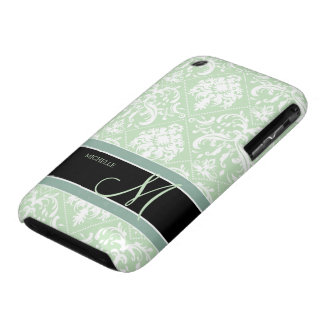 Acuñe el damasco verde y blanco del helado del vin Case-Mate iPhone 3 protectores