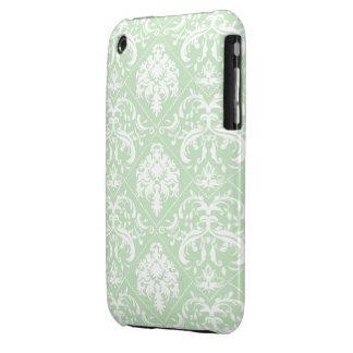 Acuñe el damasco verde y blanco del helado del vin iPhone 3 protector