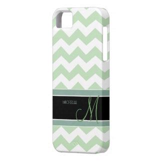Acuñe el modelo de zigzag del verde del helado con iPhone 5 coberturas