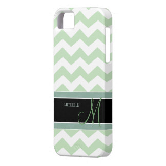Acuñe el modelo de zigzag del verde del helado con iPhone 5 carcasas